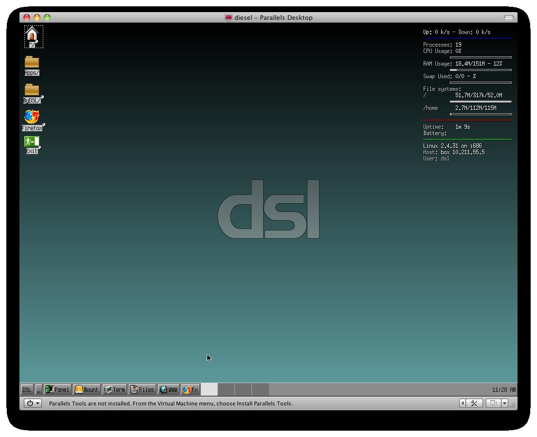 il desktop di DSL