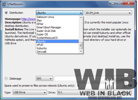 La schermata principale di Unetbootin e il menu degli OS