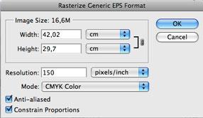 le impostazioni di rasterizzazione al momento dell'importazione su Photoshop
