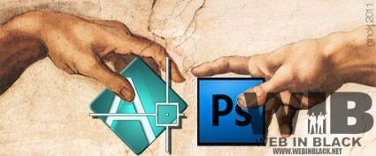 i loghi delle due applicazioni in un'elaborazione grafica che va parafrasando la Creazione di Adamo, di Michelangelo