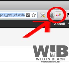 il pulsante dell'estensione di ebay per chrome