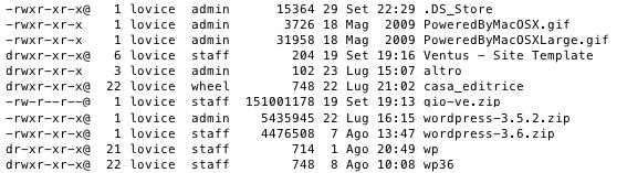 output del comando ls -l