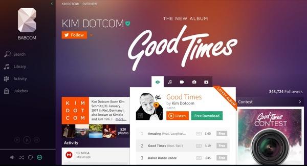 Baboom Baboom: il nuovo servizio musicale di Kim Dotcom