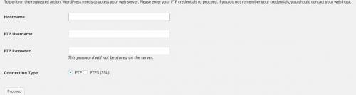 installazione plugin WP - richeista dei dati FTP