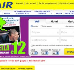 """Funny: La home di Ryanair """"defacciata"""" con un'offerta """"imperdibile""""."""