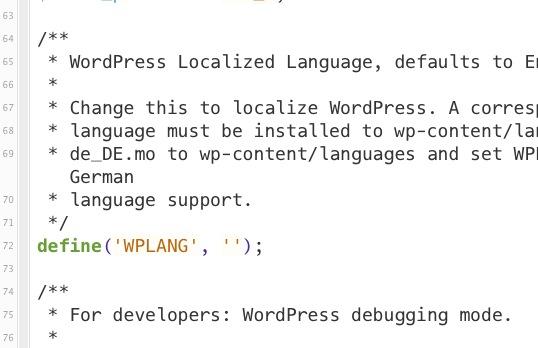 """la riga da modificare sul file """"wp-config.php"""""""