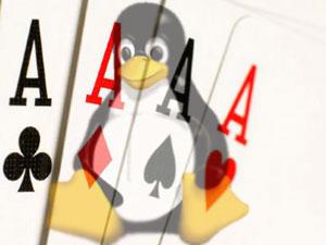 una raffigurazione di tux con alle spalle 4 assi di carte francesi