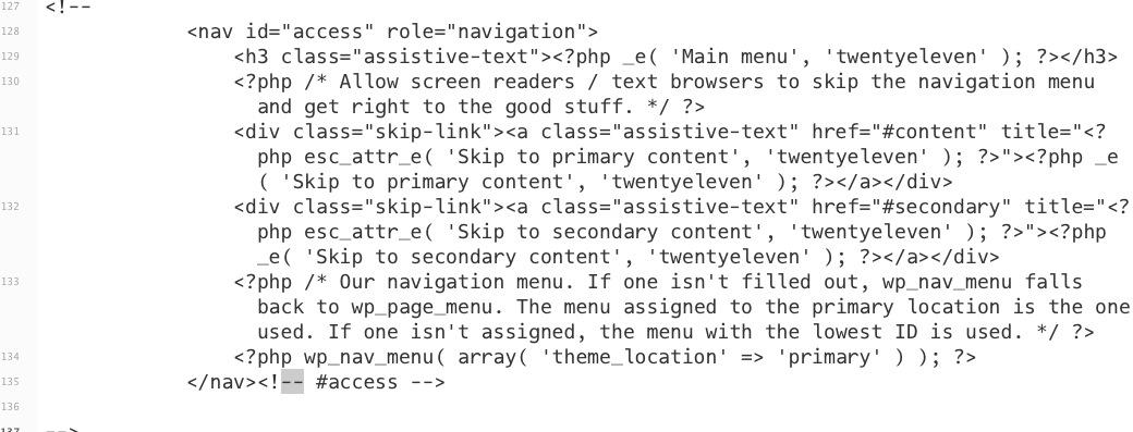 le righe da comentare in header per eliminare il menu orizzontale