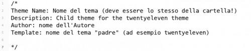 intestazione CSS per child theme di WP