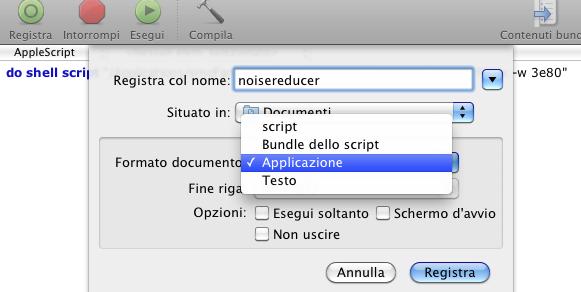"""Il menu """"salva"""" di AppleScript"""