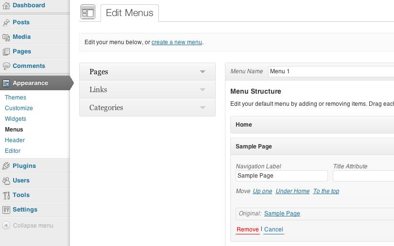 WordPress 3.6 - la sezione menu del backend