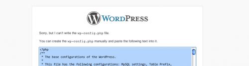 la schermata d'errore di WP