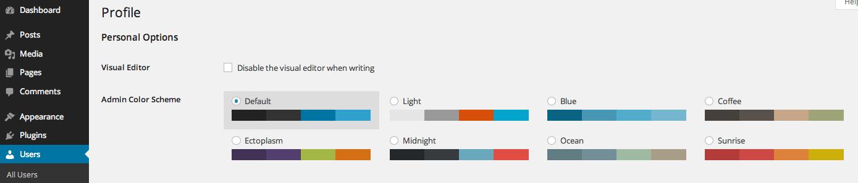 personalizzazione schema colori in profilo