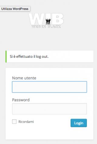 la schermata di login di wib
