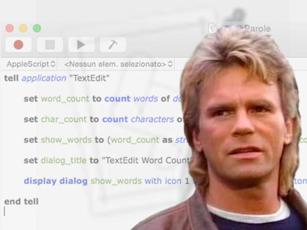 macgyver con sullo sfondo il codice apple script