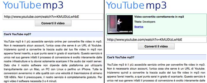 le schermate del sito youtube-mp3