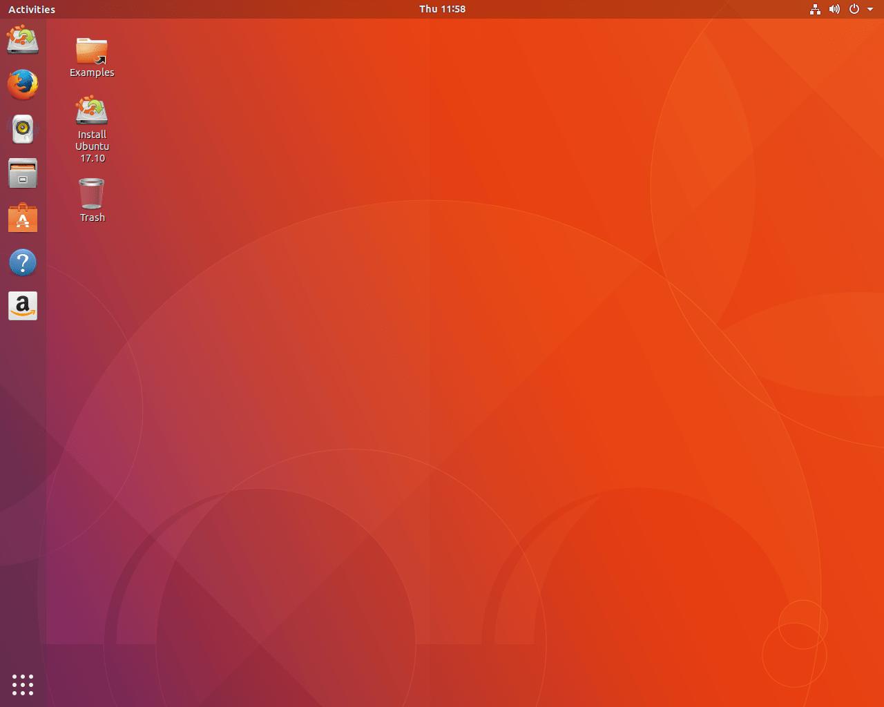 il desktop di ubuntu con il comoo dock a sinistra