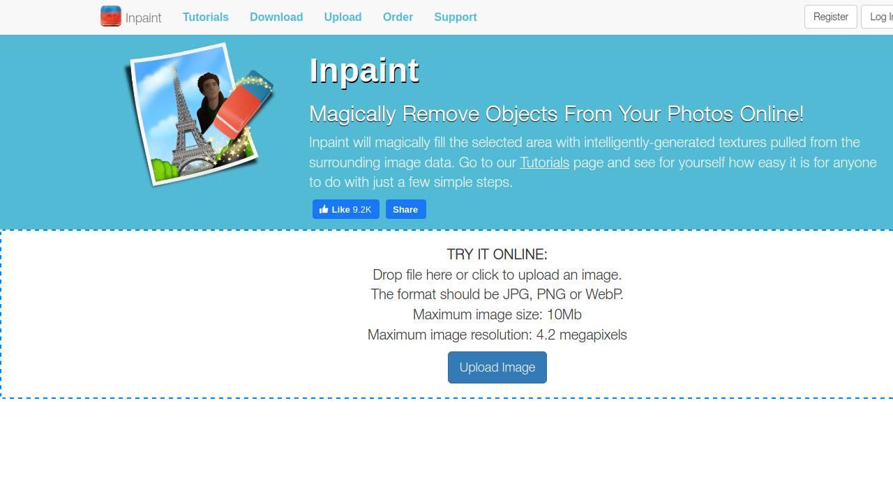 theinpaint.com schermata principale
